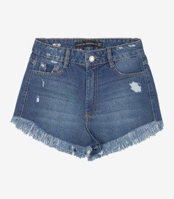 Shorts Jeans Juvenil com Barra Desfiada Authoria T7722