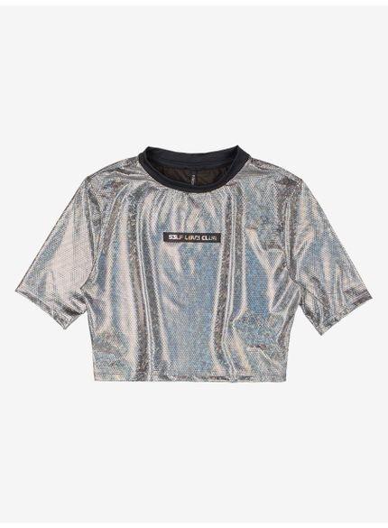 blusa cropped juvenil metalizada disco