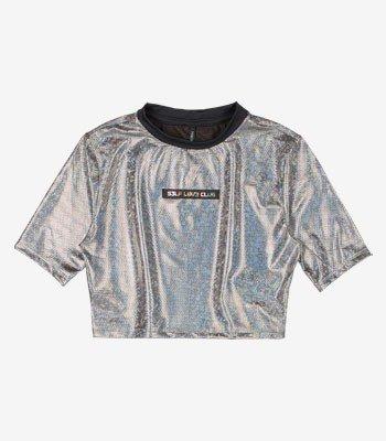 Blusa Cropped Juvenil Metalizada Disco T7371