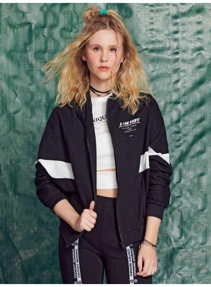 jaqueta juvenil de moletom preto authoria