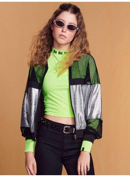 jaqueta juvenil metalizada com tela furadinha