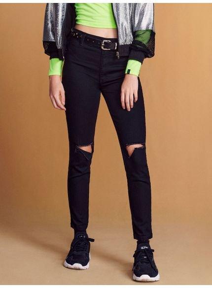 Calca Jeans Preta Rasgos Joelhos Skinny juvenil feminina