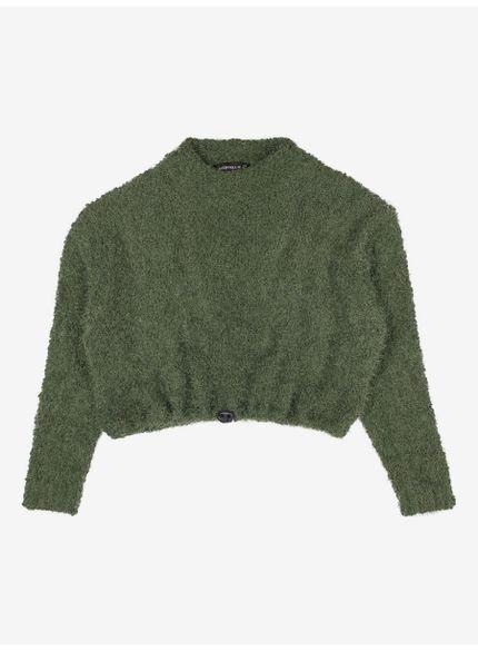 casaco juvenil fluffy verde militar authoria