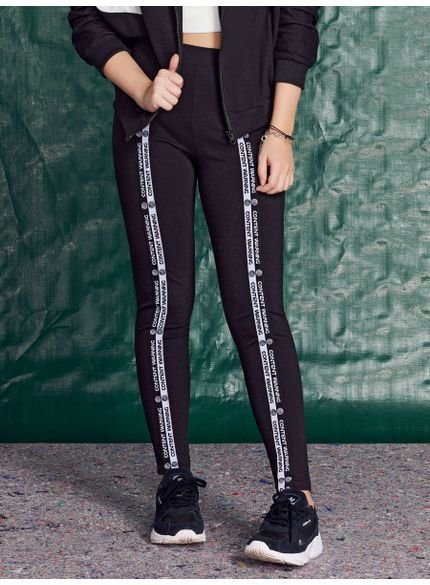 calca legging juvenil preta com elastico decorativo