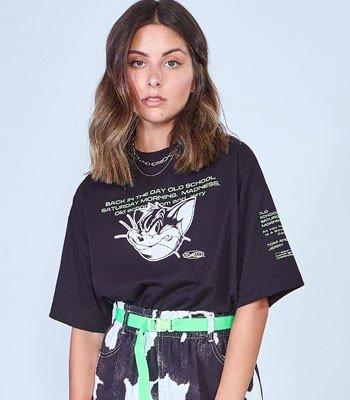 T shirt Juvenil Feminina Preta Tom e Jerry T7730