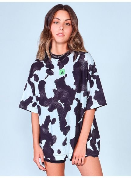 camiseta ampla estampa cow authoria